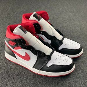 NIKE Air Jordan 1 Middle Cut White Black Red